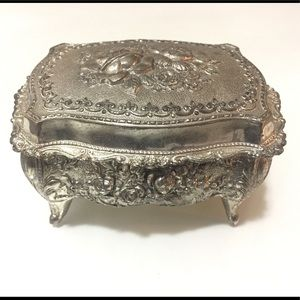 Vintage Japanese Silver Tone Jewelry Trinket Box